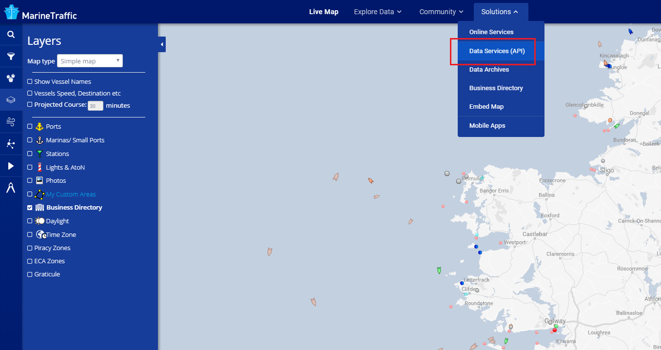 Set-up your API Services – MarineTraffic Help