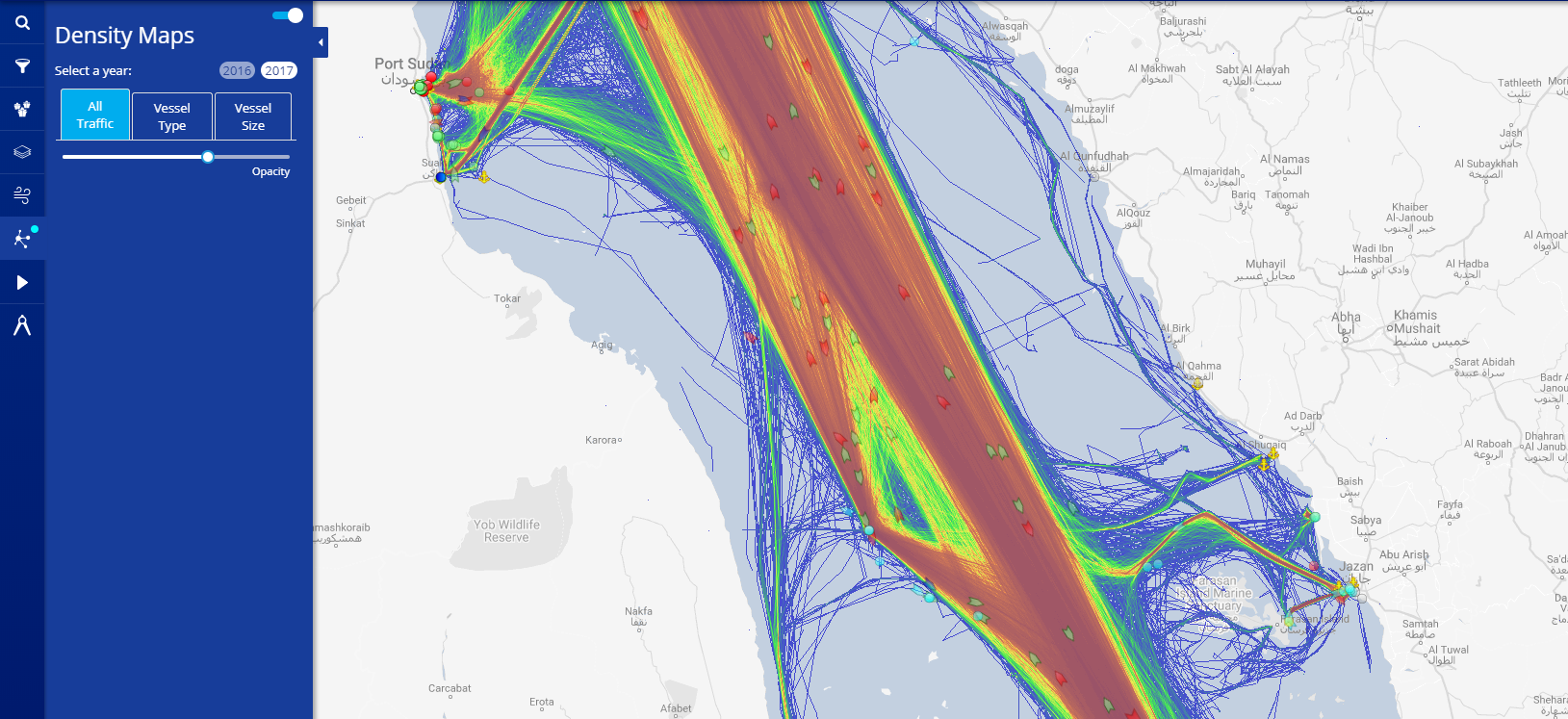 Display Density Maps on the Live Map – MarineTraffic Help on